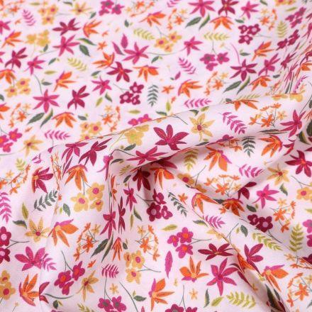 Tissu Popeline de coton Sweet Flower Jeanne sur fond Blanc - Par 10 cm