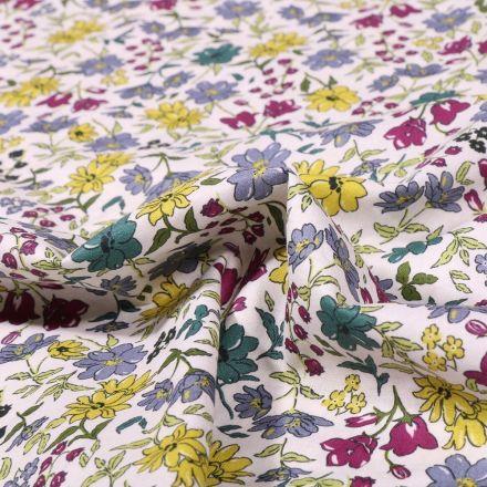 Tissu Popeline de coton Sweet Flower Faustine sur fond Blanc - Par 10 cm