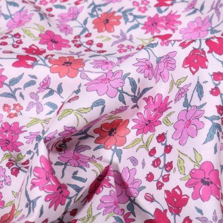 Tissu Popeline de coton Sweet Flower Capucine sur fond Blanc - Par 10 cm