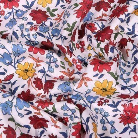 Tissu Popeline de coton Sweet Flower Rebecca bordeaux sur fond Blanc - Par 10 cm