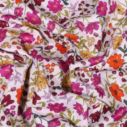 Tissu Popeline de coton Sweet Flower Rebecca rose sur fond Blanc - Par 10 cm