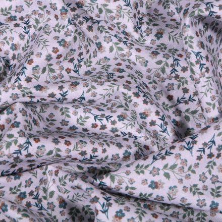 Tissu Popeline de coton Sweet Flower Adèle sur fond Blanc - Par 10 cm