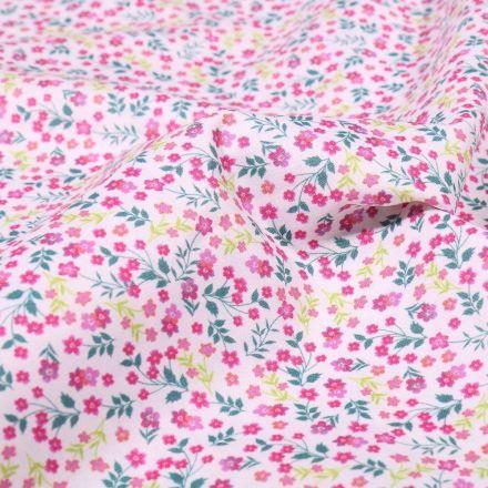 Tissu Popeline de coton Sweet Flower Victoire sur fond Blanc - Par 10 cm