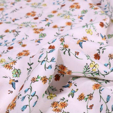 Tissu Popeline de coton Sweet Flower Jade sur fond Blanc - Par 10 cm