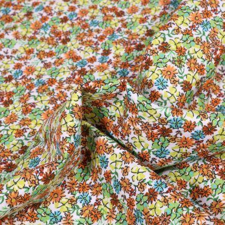 Tissu Popeline de coton Sweet Flower Hélène sur fond Blanc - Par 10 cm