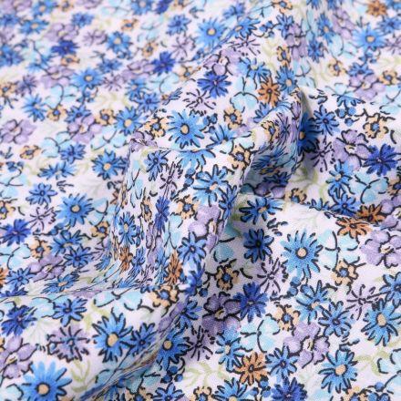 Tissu Popeline de coton Sweet Flower Margaux sur fond Blanc - Par 10 cm