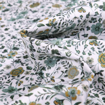 Tissu Popeline de coton Sweet Flower Faustine vert sur fond Blanc