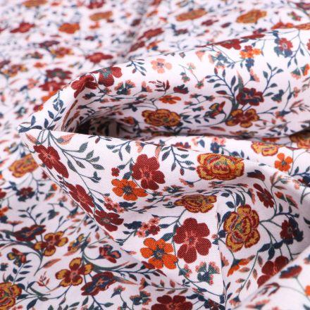 Tissu Popeline de coton Sweet Flower Faustine orange sur fond Blanc