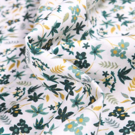Tissu Popeline de coton Sweet Flower Roseline vert sur fond Blanc