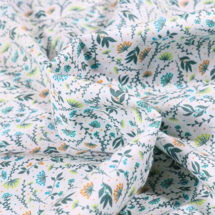 Tissu Popeline de coton  Sweet Flower Flora vert sur fond Blanc