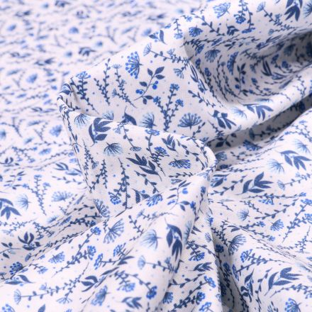 Tissu Popeline de coton  Sweet Flower Flora bleu sur fond Blanc