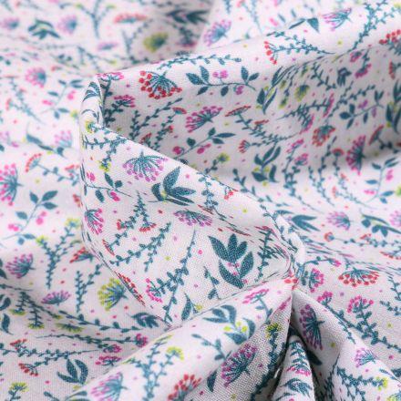 Tissu Popeline de coton  Sweet Flower Flora rose sur fond Blanc