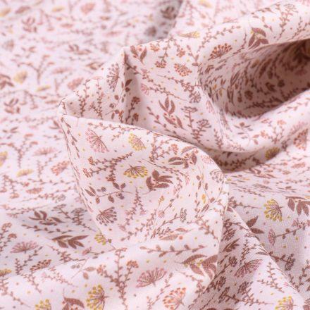 Tissu Popeline de coton  Sweet Flower Flora nude sur fond Blanc