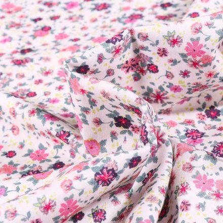 Tissu Popeline de coton Sweet Flower Louise rose sur fond Blanc