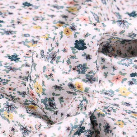 Tissu Popeline de coton Sweet Flower Louise vert d'eau sur fond Blanc