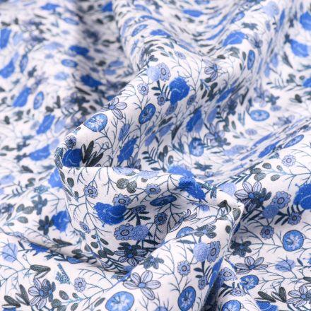 Tissu Popeline de coton Sweet Flower Apolline bleu sur fond Blanc