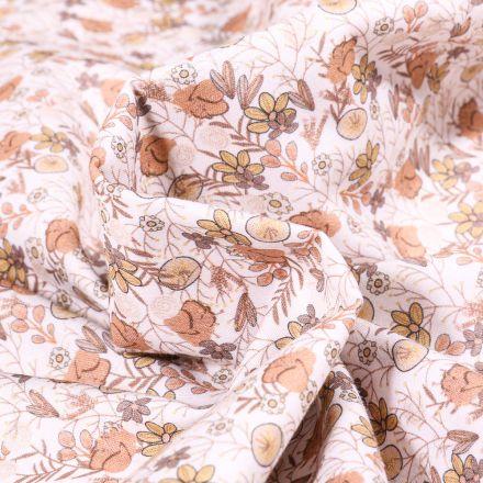 Tissu Popeline de coton Sweet Flower Apolline nude sur fond Blanc