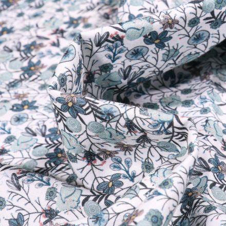 Tissu Popeline de coton Sweet Flower Apolline vert d'eau sur fond Blanc