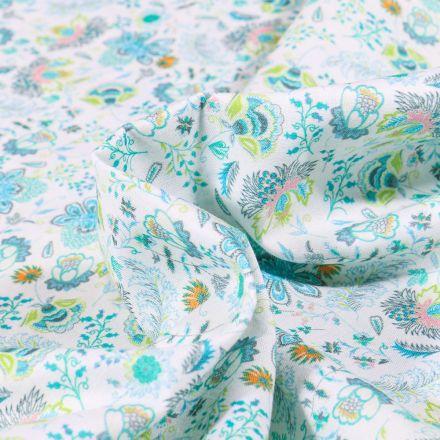 Tissu Popeline de coton  Sweet Flower Camille vert sur fond Blanc