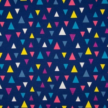 Tissu Jersey Coton Triangles Pailletés Roses / Jaunes sur fond Marine - Par 10 cm