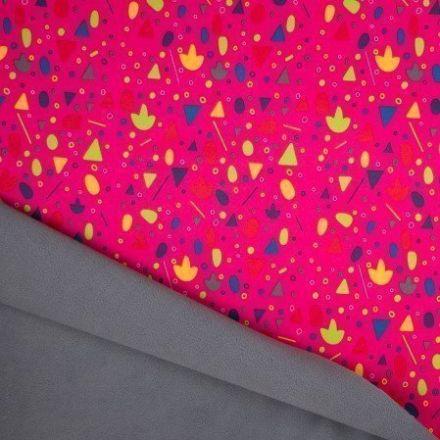 Tissu Softshell envers Polaire Formes géométriques Multicolores sur fond Rose Fuchsia - Par 10 cm