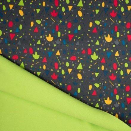 Tissu Softshell envers Polaire Formes géométriques Multicolores sur fond Gris - Par 10 cm
