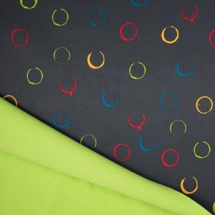 Tissu Softshell envers Polaire Cercles Multicolores sur fond Gris - Par 10 cm