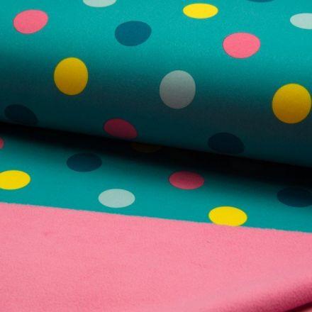 Tissu Softshell envers polaire  Pois rose jaune et bleu sur fond Vert émeraude - Par 10 cm