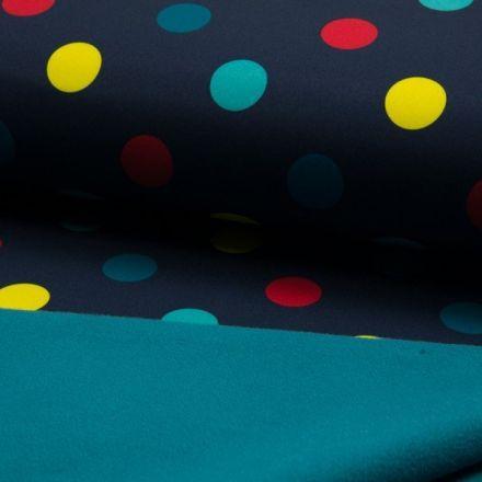 Tissu Softshell envers polaire  Pois jaune rouge et vert sur fond Bleu marine - Par 10 cm