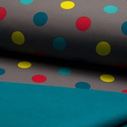Tissu Softshell envers polaire  Pois jaune rouge et vert sur fond Gris - Par 10 cm