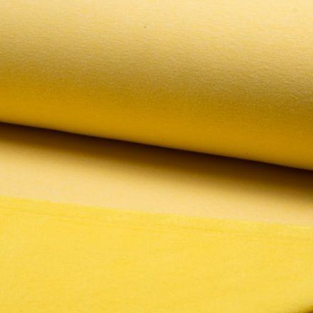 Tissu Sweat  envers minky Jaune chiné - Par 10 cm