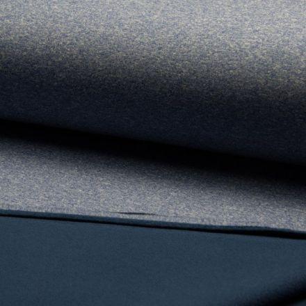 Tissu Softshell chiné envers polaire  Bleu - Par 10 cm