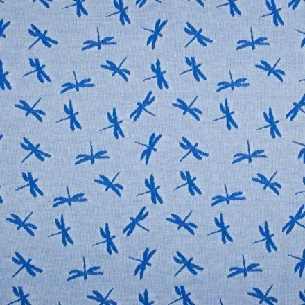 Tissu Jersey Jacquard  Libellules bleu roi sur fond Bleu ciel chiné - Par 10 cm