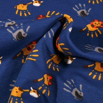 Tissu Jersey Coton Animaux de la savane mains peinture sur fond Bleu roi