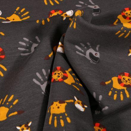 Tissu Jersey Coton Animaux de la savane mains peinture sur fond Gris foncé
