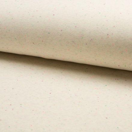 Tissu Sweat chiné  multicolore envers minky Ecru - Par 10 cm