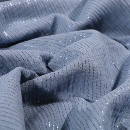 Tissu Double gaze Rayures lurex Bleu ancien - Par 10 cm