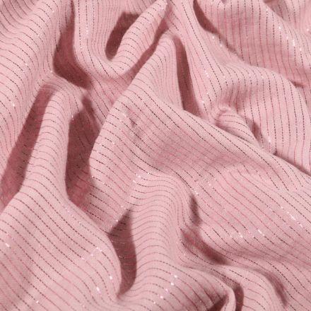Tissu Double gaze Rayures lurex Rose pâle - Par 10 cm