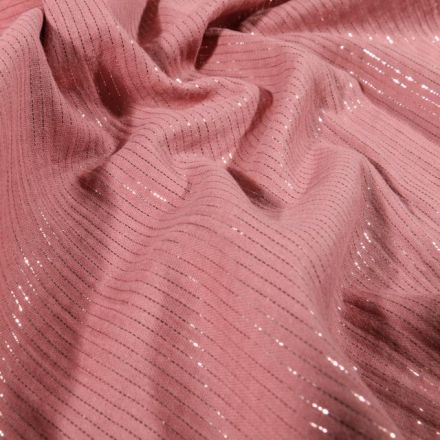 Tissu Double gaze Rayures lurex Vieux rose - Par 10 cm