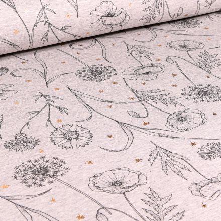 Tissu Sweat léger Coquelicots dessiné sur fond Beige chiné