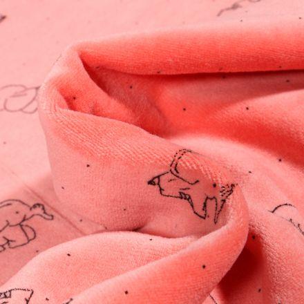 Tissu Jersey Velours tout doux Eléphanteau sur fond Corail