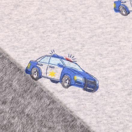 Tissu Sweat envers minky Voitures de police sur fond Gris clair chiné
