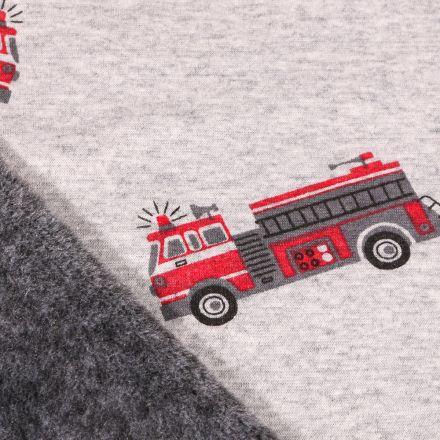Tissu Sweat envers minky Camions de pompier sur fond Gris clair chiné