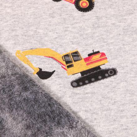 Tissu Sweat envers minky Tractopelle sur fond Gris clair chiné