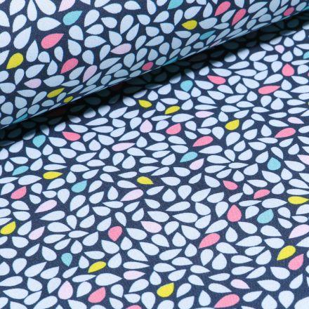 Tissu Softshell Gouttes blanches et pastels sur fond Bleu marine