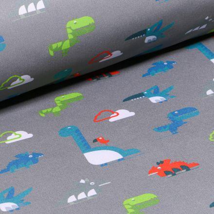 Tissu Softshell Dinosaures sur fond Gris