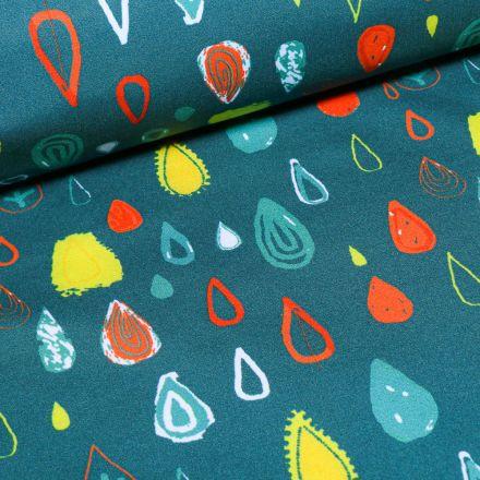 Tissu Softshell Gouttes colorées sur fond Vert canard