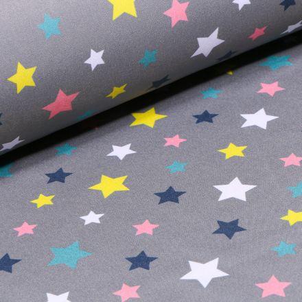 Tissu Softshell Etoiles colorées sur fond Gris