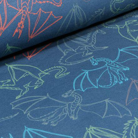Tissu Jersey Coton Dragons colorés sur fond Bleu