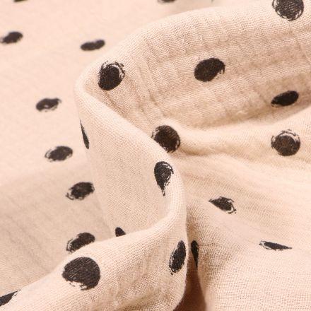 Tissu Double gaze Pois noirs sur fond Beige